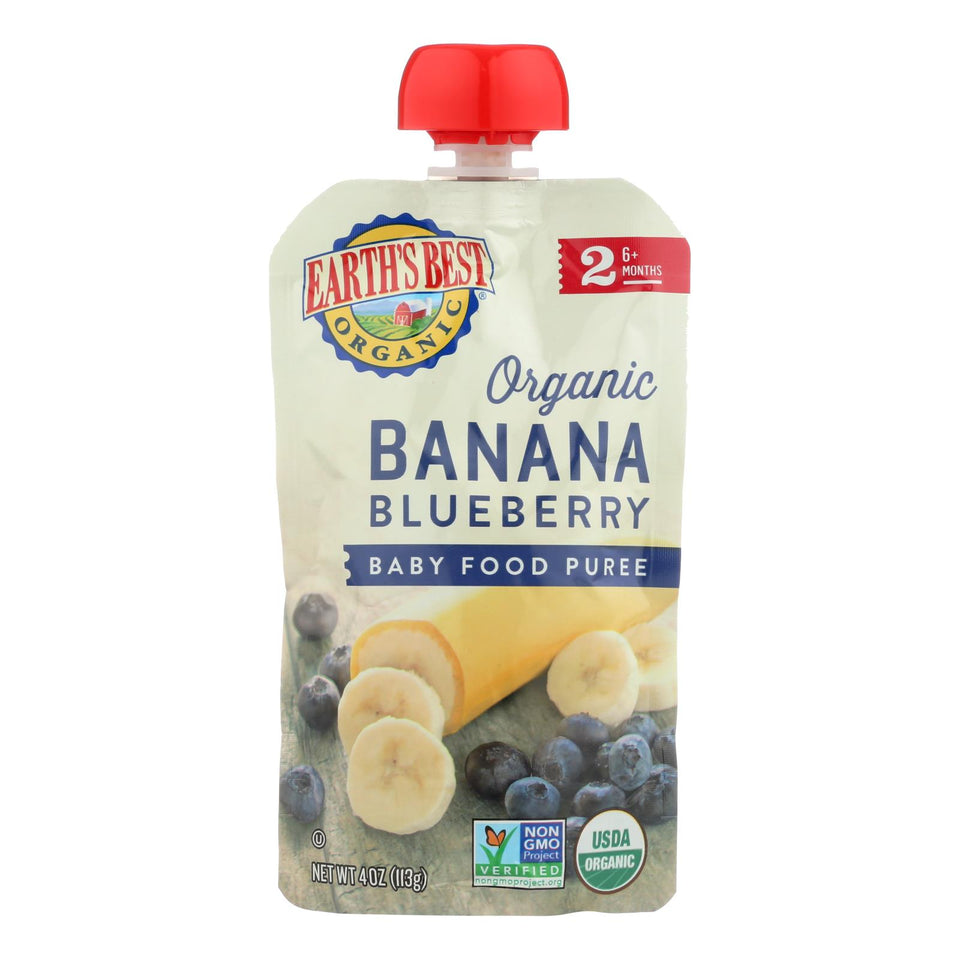 Earth's Best Organic Banana Blueberry Baby Food Puree - Stage 2 - Case Of 12 - 4 Oz.