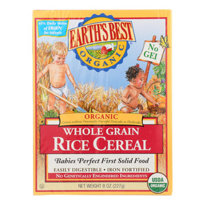Earth's Best Organic Whole Grain Rice Infant Cereal - Case Of 12 - 8 Oz.