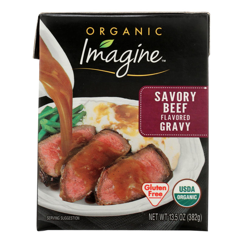 Imagine Foods Organic Gravy - Savory Beef - Case Of 12 - 13.5 Fl Oz