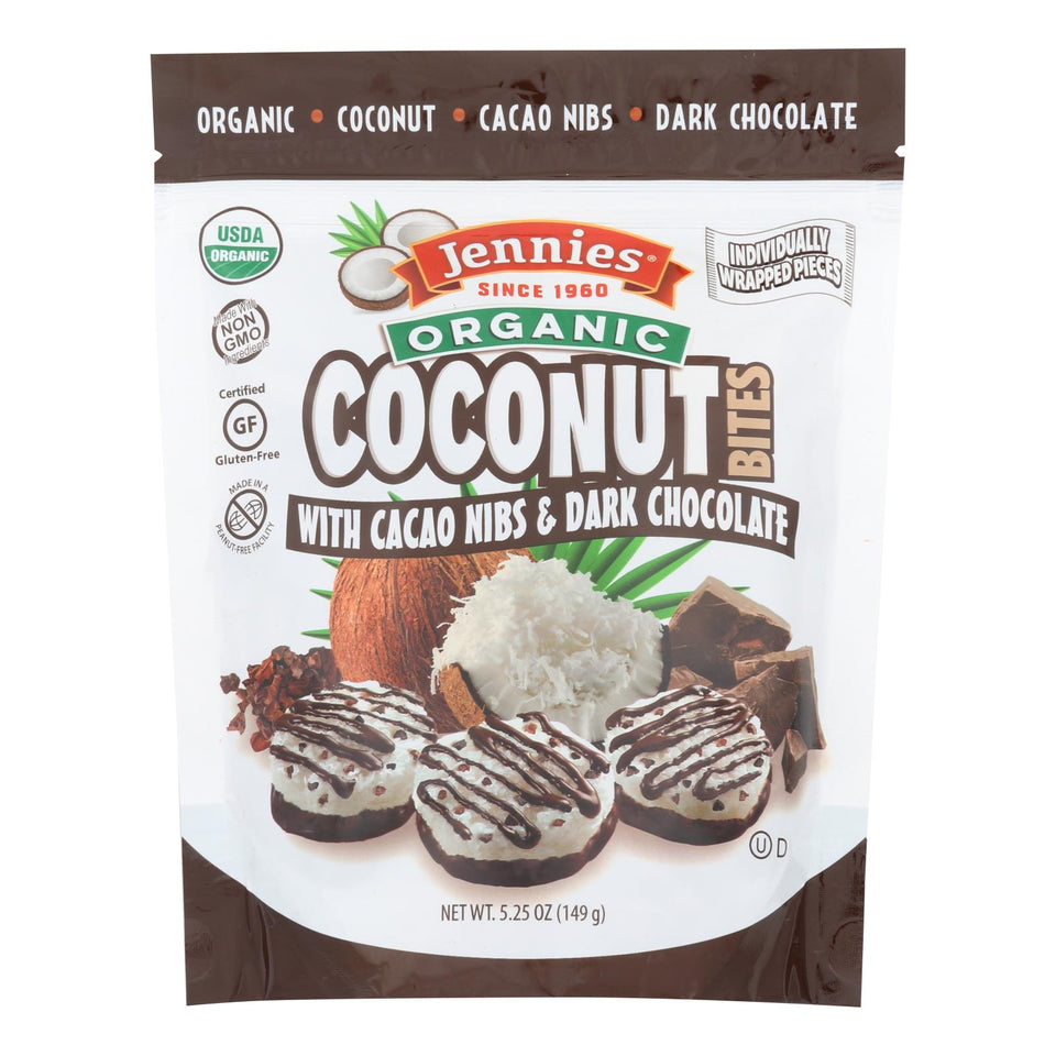 Jennies Coconut Bites - Organic - Cacao Chocolate - Case Of 6 - 5.25 Oz