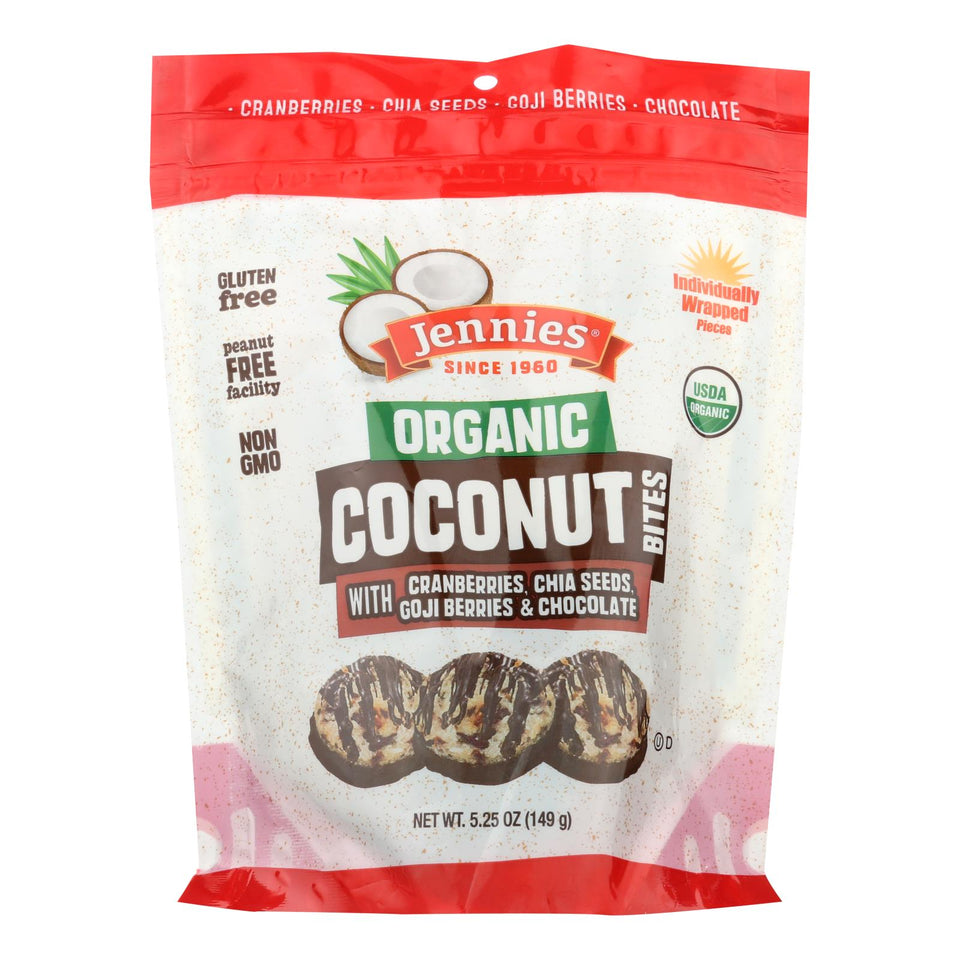 Jennies Coconut Bites - Organic - Cranberry Goji - Case Of 6 - 5.25 Oz