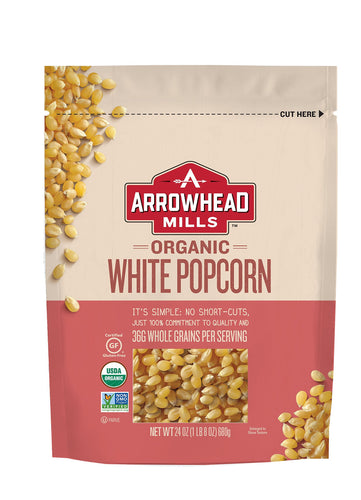 Arrowhead Mills Organic White Popcorn, 24 oz. Bag (Pack of 6) - myorganicals