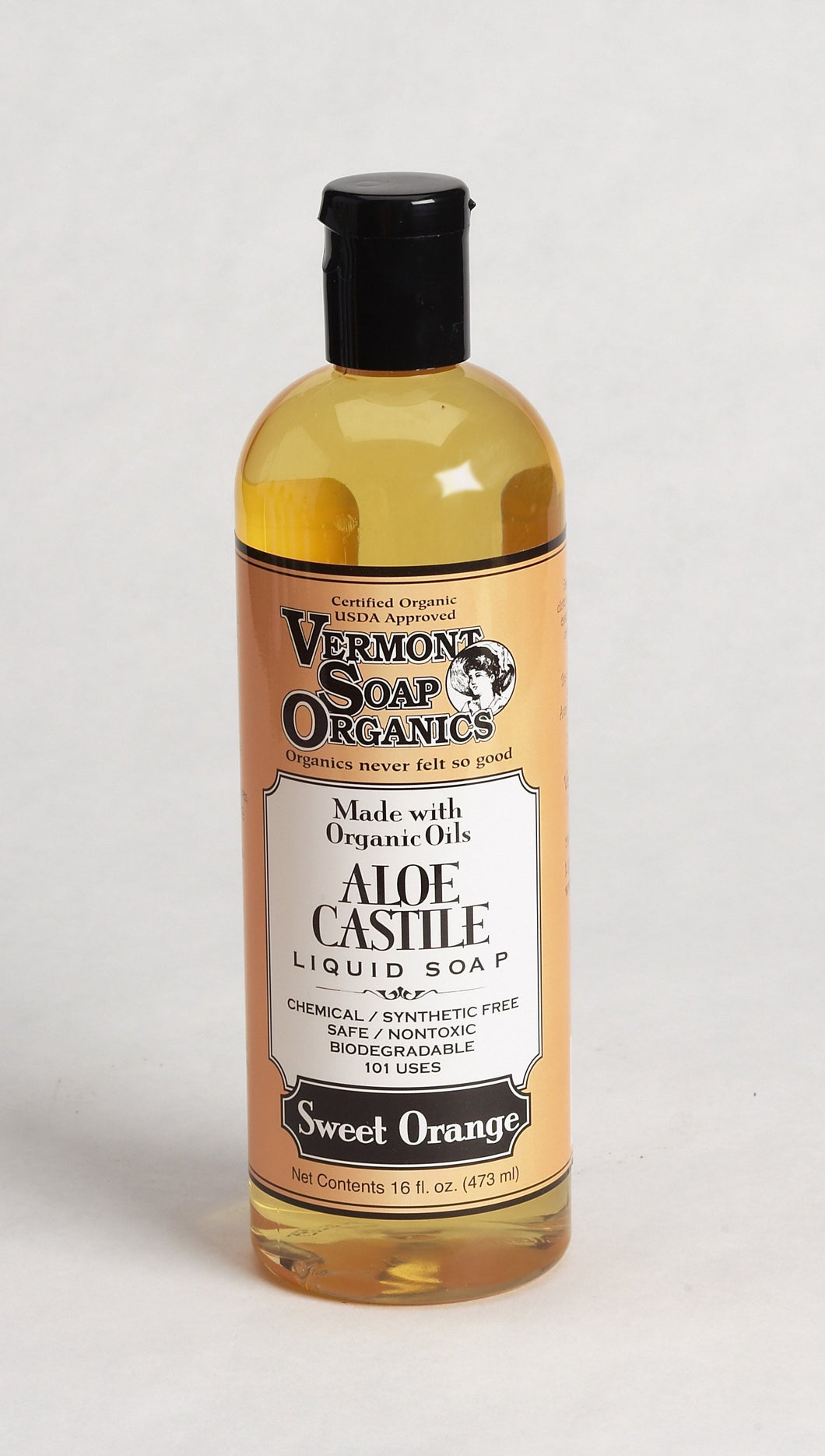 Vermont Soap Organics - Sweet Orange Liquid Aloe Castile Soap 16oz - myorganicals