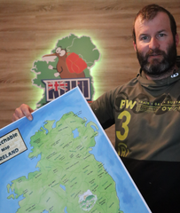 Kiwi Exploring Ireland with his Scratchable Map Ireland