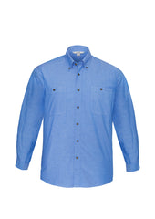 Biz Collection SH112 Mens Wrinkle Free Chambray Long Sleeve Shirt