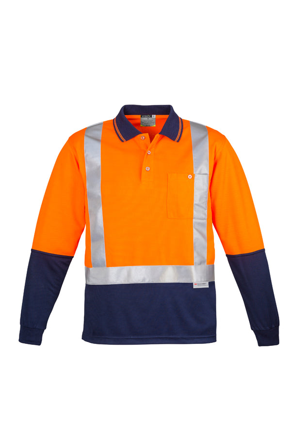 Syzmik ZH234 Mens Hi Vis Spliced Polo - Long Sleeve Shoulder Taped