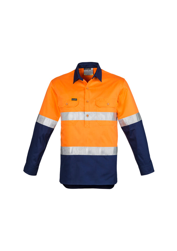 Syzmik ZW550 Mens Hi Vis Closed Front L/S Shirt - Hoop Taped