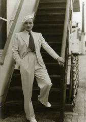 Actress Marlene Dietrich in white suit aboard the SS EUROPA, in May 1933