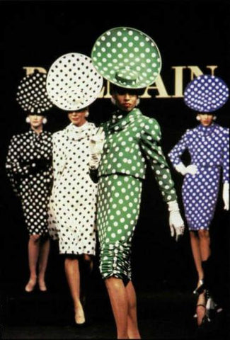 Janet Chandler front and center for Balmain, 1987 polka dots