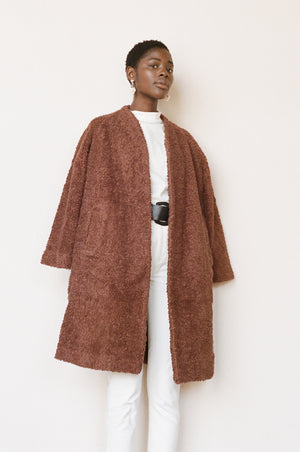 Maria Stanley cotton sherpa verde coat clove brown