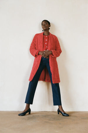 Maria Stanley cotton sherpa verde coat harissa red