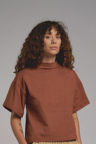 MOCKNECK TEE | tobacco | organic + earth dyed