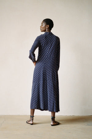 JORDAN DRESS | dotted navy