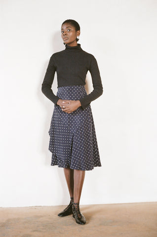 HUTSON SKIRT | dotted navy