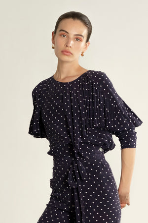 ROONEY TOP | dotted navy