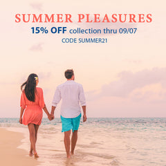 """image of a couple walking on the beach with the following text: """"Summer Pleasures; 15% off through 9/7; Code SUMMER21"""