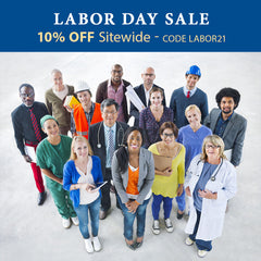 """image of various labor workers under a banner reading """"Labor Day Sale 10% OFF Sitewide - CODE LABOR21"""""""