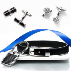 image of various gift ideas for men: a leather bracelet, a key chain and 2 sets of cufflinks