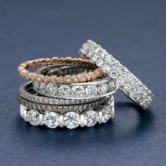 stack of varying wedding bands
