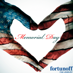 image of hands placed in the shape of a heart with American flag overlay, Memorial Day centered within the hands