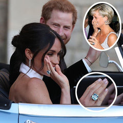Meghan Markle wearing a blue topaz ring