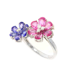 Pink Sapphire and Tanzanite Flower Ring