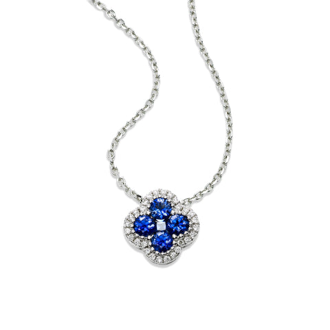 Clover Shaped Sapphire and Diamond Pendant, 14K White Gold - $1,150