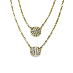 Nested Pavé Diamond Disc Necklace, 14K Yellow Gold - $995