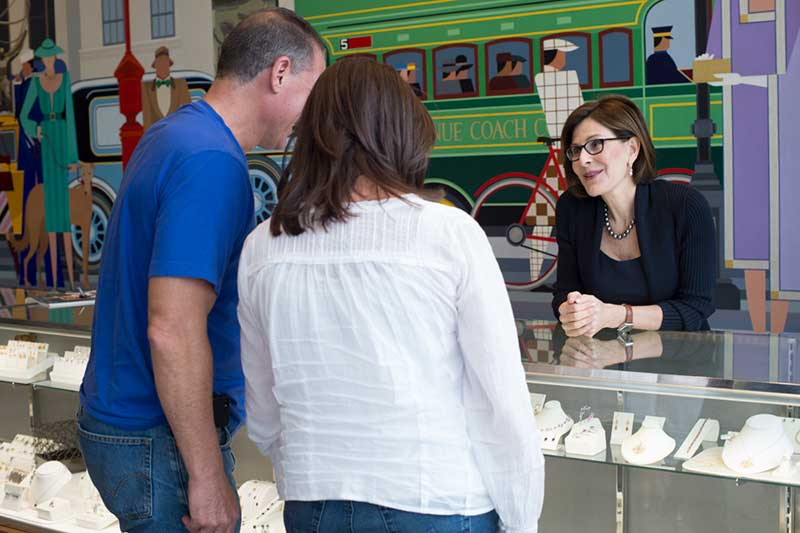 Esther with customers