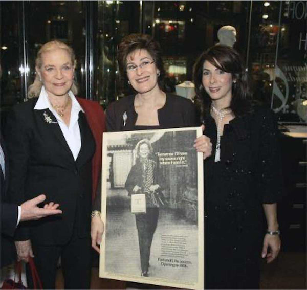 Lauren Bacall with Esther and Ruth Fortunoff