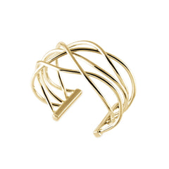 Wavy Crossed Wire Cuff Bracelet, 14K Yellow Gold - $3,995