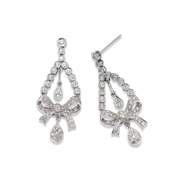 Bow Design Diamond Chandelier Earrings, 18K White Gold