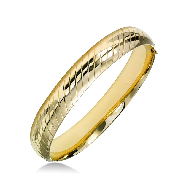 Groove Design Bangle Bracelet, 14K Yellow Gold