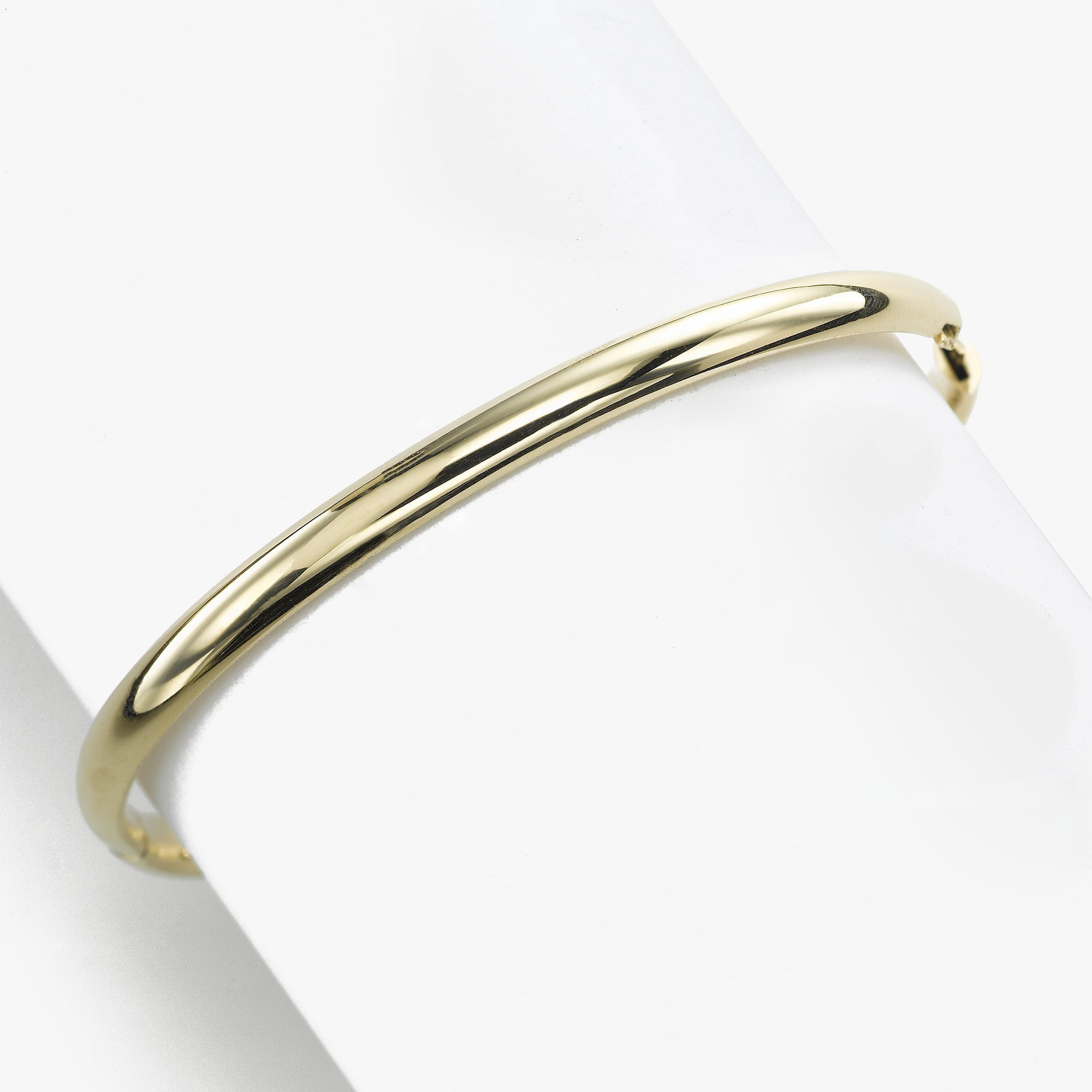 Shiny Domed Bangle Bracelet, .25 Inch, 14K Yellow Gold