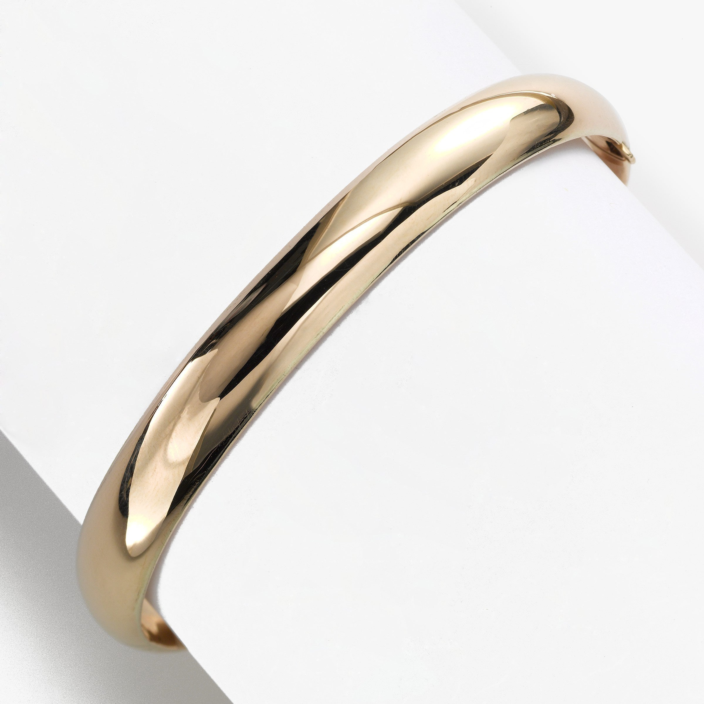 Plus Size Shiny Dome Bangle Bracelet, 14K Yellow Gold