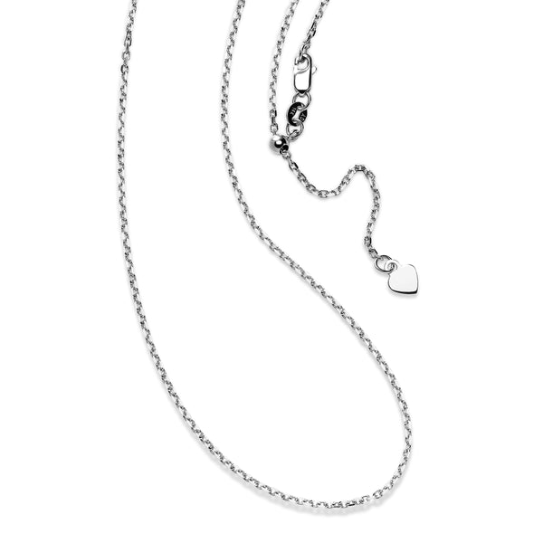 Adjustable Cable Chain with Heart Dangle, 24 Inches, 14K White Gold