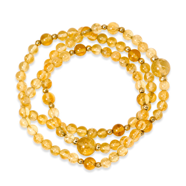 Citrine Beads and Yellow Gold Beads Stretchy Bracelet