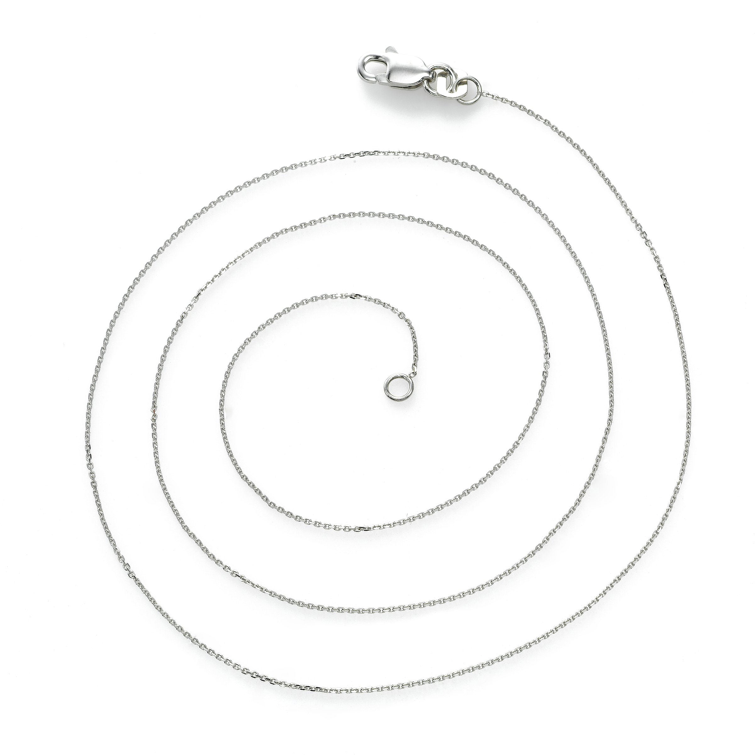 Delicate Cable Chain, 17 Inches, 14K White Gold