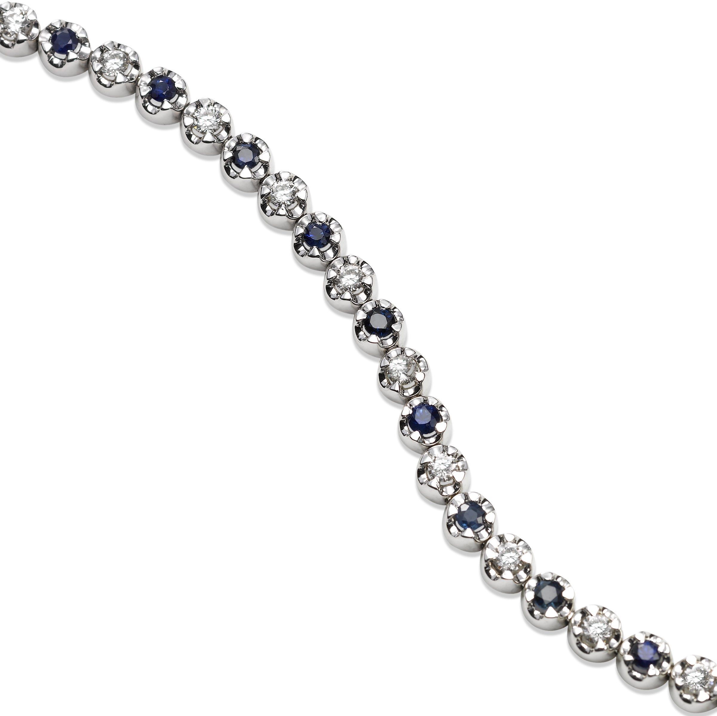 Small Blue Sapphire and Diamond Bracelet, 14K White Gold