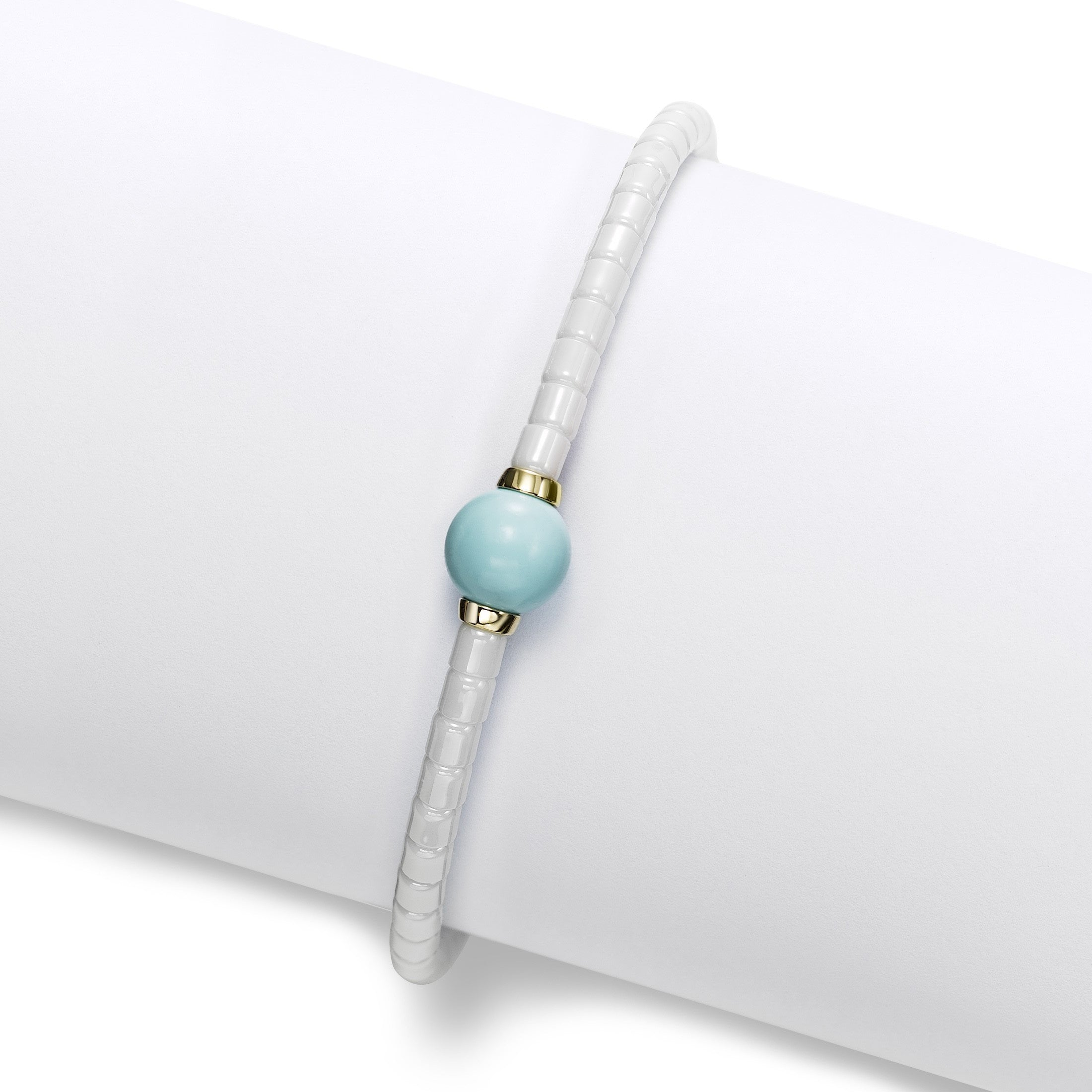 White Ceramic Bead Bracelet with Turquoise Bead, 18K Yellow Gold