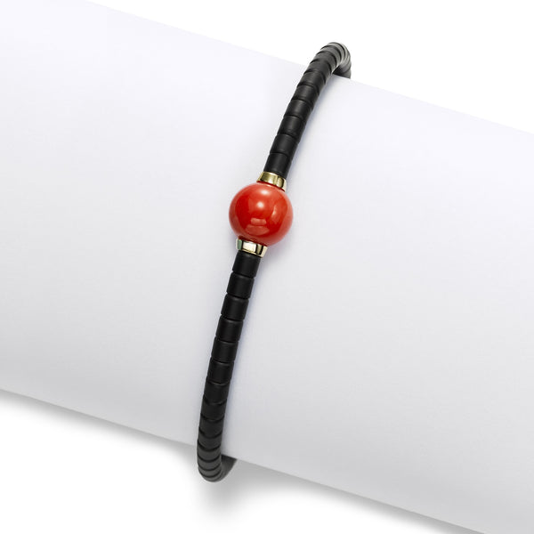 Black Ceramic Bead Bracelet with Coral Bead, 18K Yellow Gold