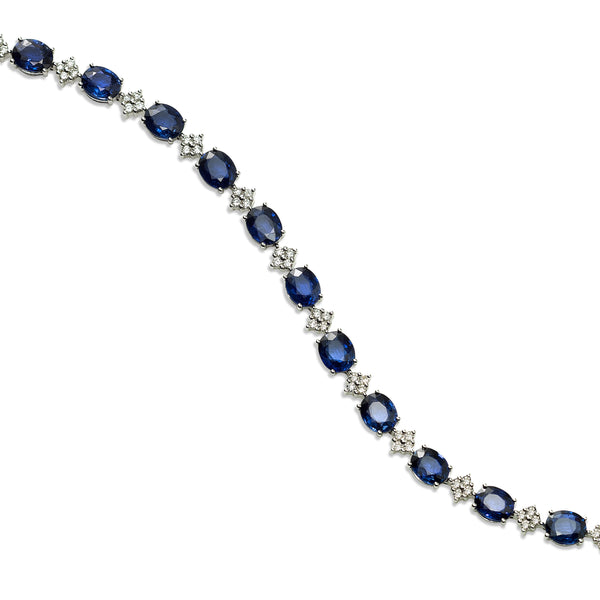 Alternating Sapphire and Pavé Diamond Bracelet, 18K White Gold