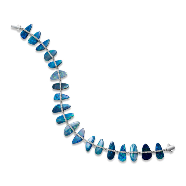 Blue Opal and Diamond Bracelet, 18K White Gold
