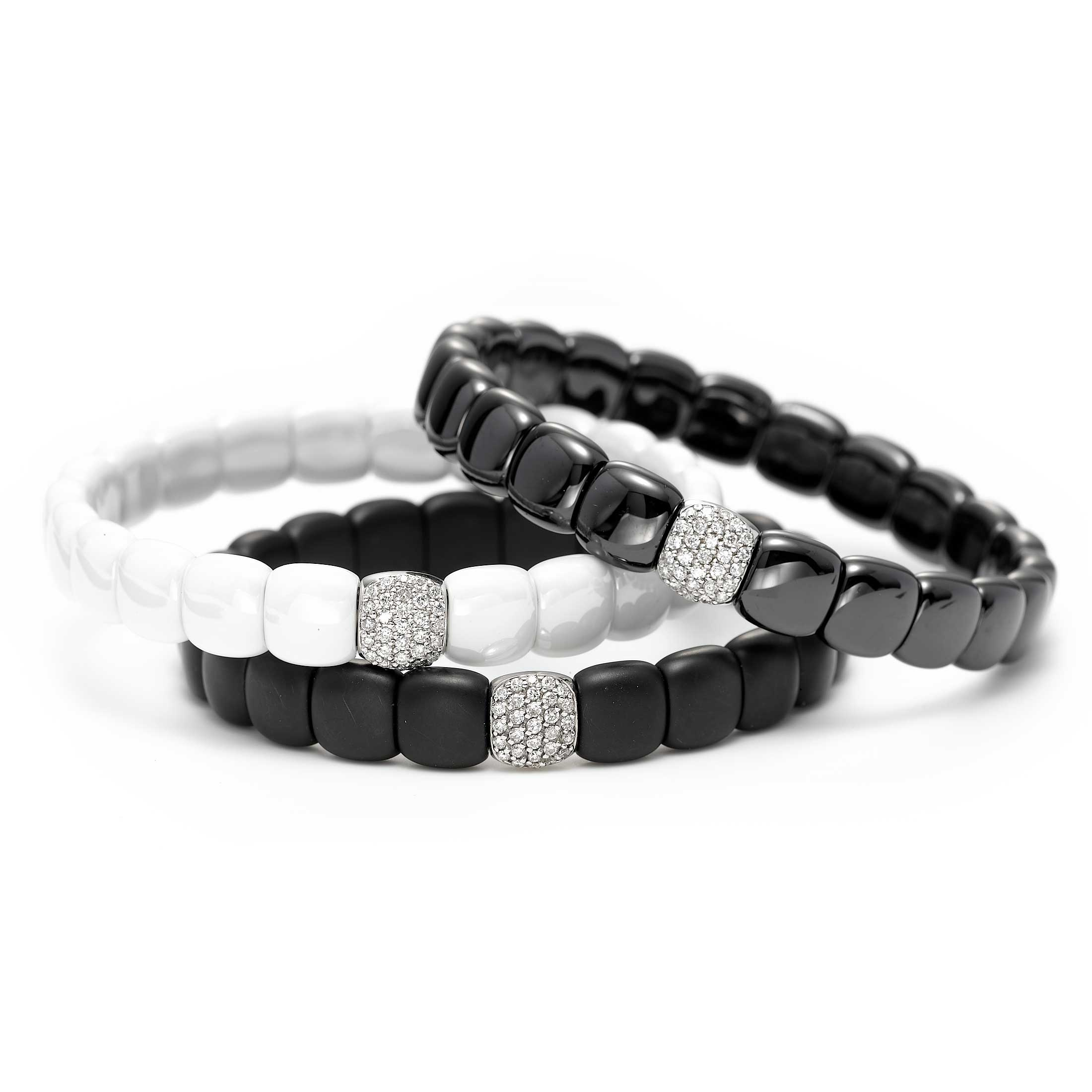 Shiny Black Ceramic Bracelet with 18K White Gold Pavé Tile