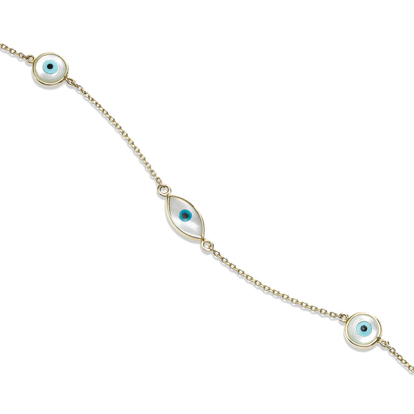 Mother of Pearl Evil Eye Bracelet, 14K Yellow Gold