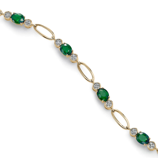 Emerald and Diamond Link Bracelet, 14K Yellow Gold