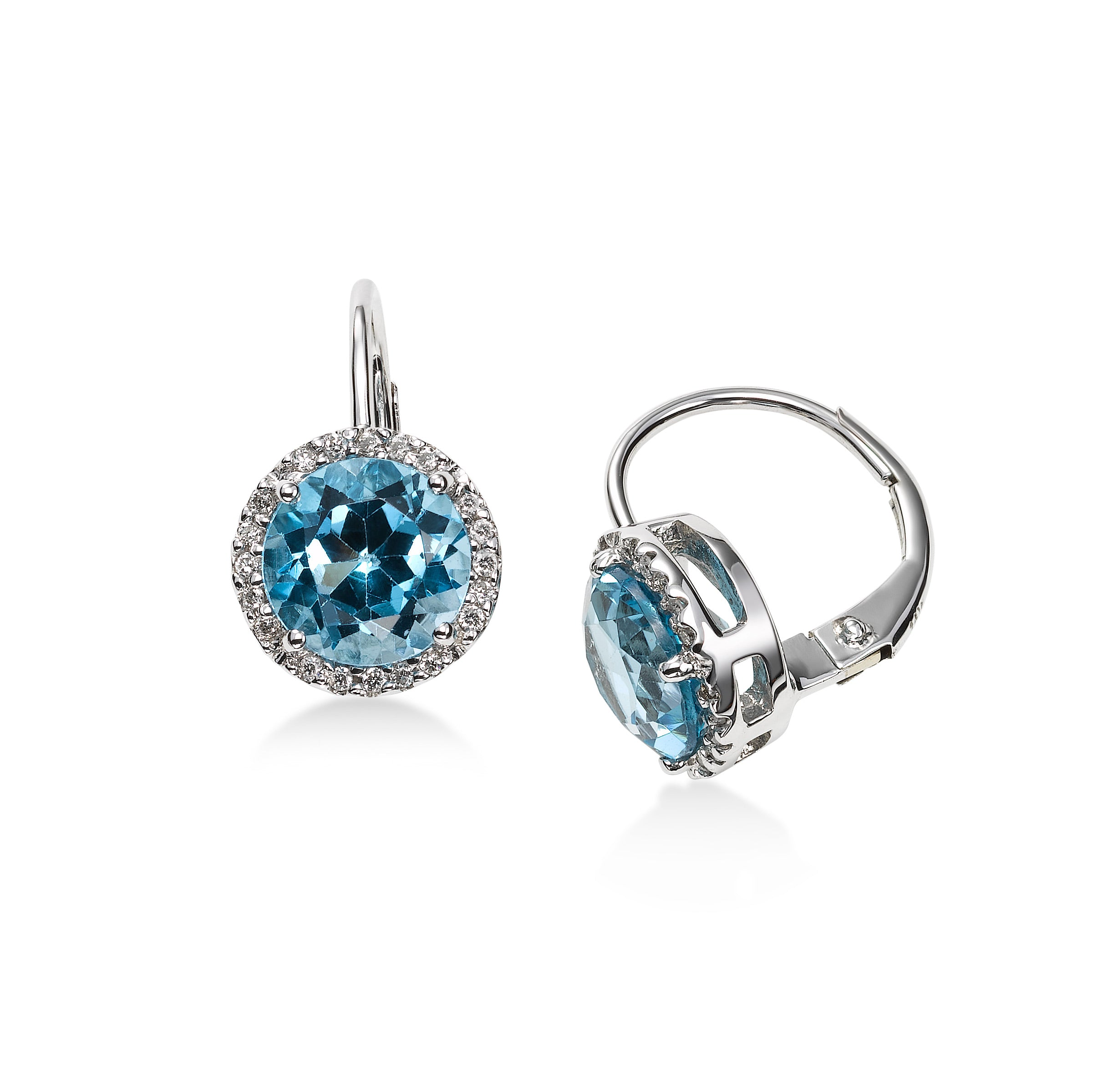 Diamond and Blue Topaz Dangle Earrings, 14K White Gold