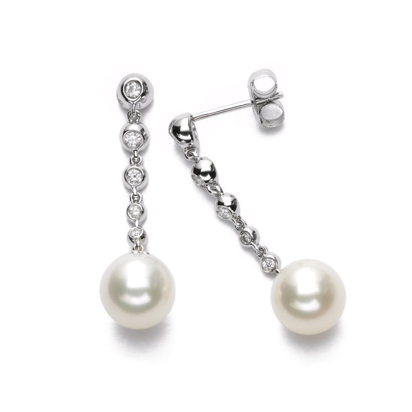 Freshwater Cultured 8MM Pearl and Bezel Set Diamond Earrings, 14K White Gold