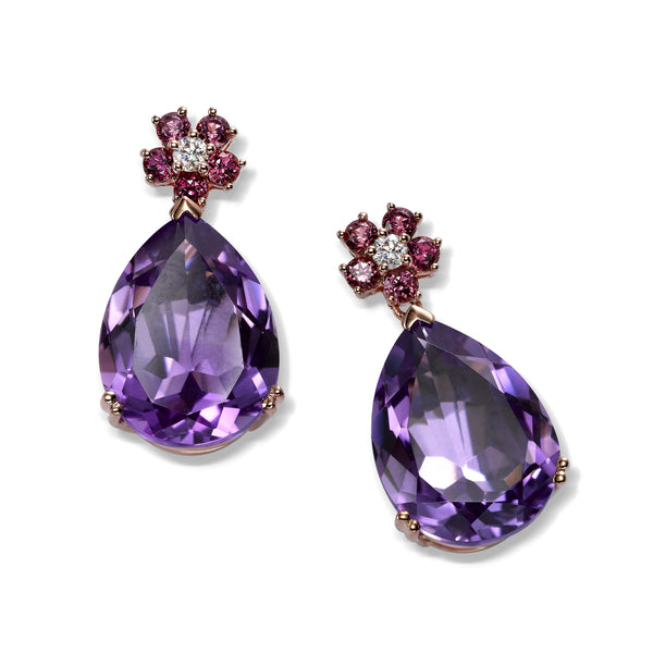 Pear Shaped Amethyst and Diamond Drop Earrings, 14K Rose Gold