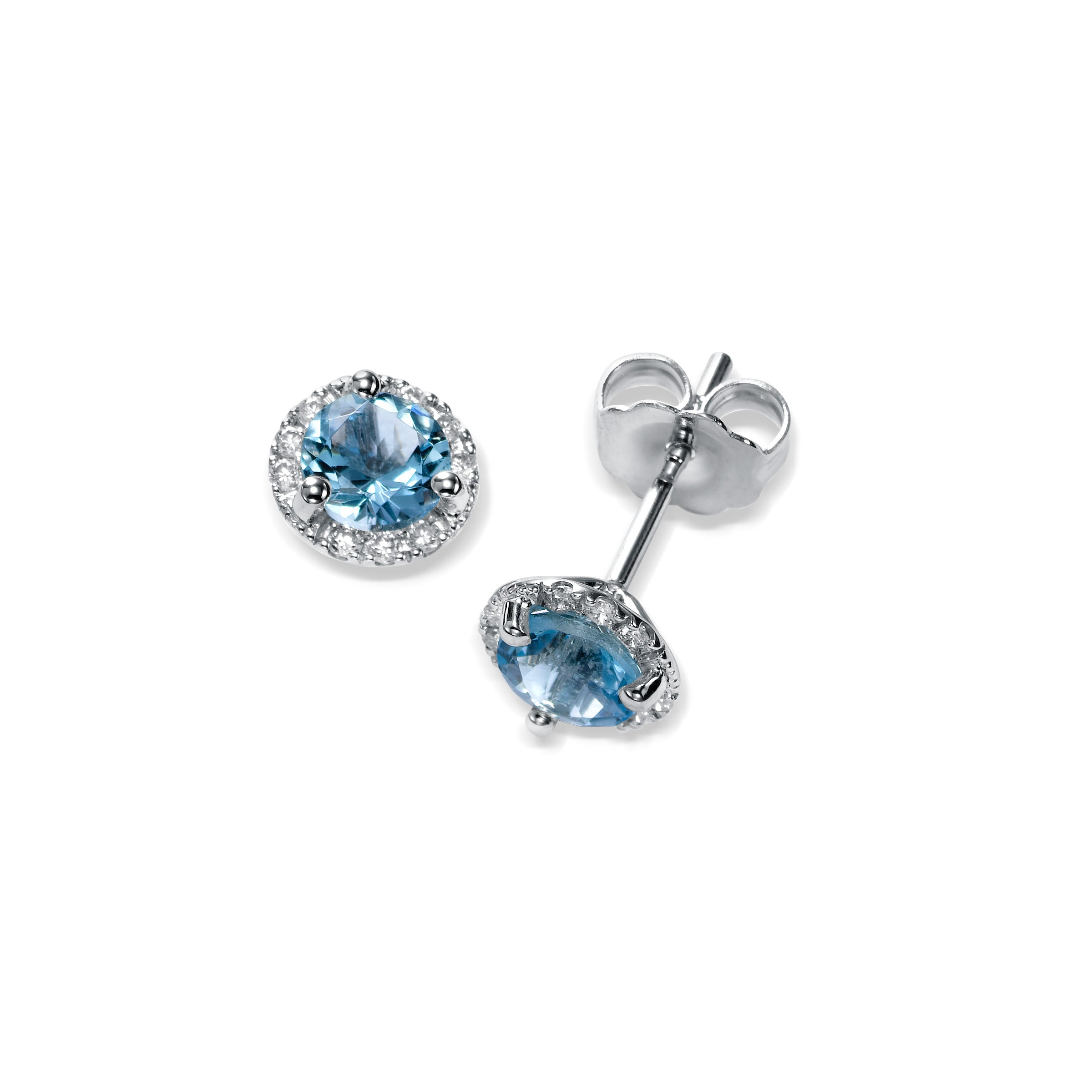 Round Aquamarine and Diamond Stud Earrings, 14K White Gold